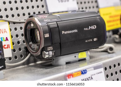Lodz, Poland, July 9, 2018 inside RTV EURO AGD electronic store, Panasonic FHD HC-V770 WIFI Digital Full HD Camera on display for sale, produced by Panasonic