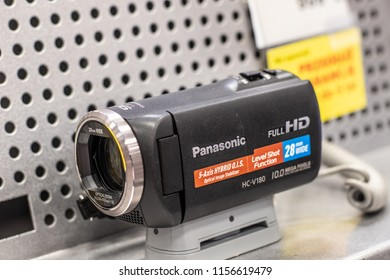Lodz, Poland, July 9, 2018 inside RTV EURO AGD electronic store, Panasonic FHD HC-V180 Digital Full HD Camera on display for sale, produced by Panasonic