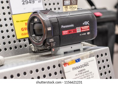 Lodz, Poland, July 9, 2018 inside RTV EURO AGD electronic store, Panasonic 4k HC-VX980 WIFI Digital Ultra HD Camera on display for sale, produced by Panasonic
