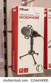 Lodz, Poland, July 9, 2018 inside RTV EURO AGD electronic store, Trust USB Microphone on display for sale, desk Microphone produced by Trust