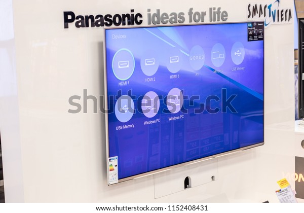 Lodz, Poland, July 9, 2018 inside RTV EURO AGD electronic store, Panasonic LED 4K HDR Smart TV TX-58EX703E ultra HD on display for sale, UHD SmartViera TV produced by Panasonic