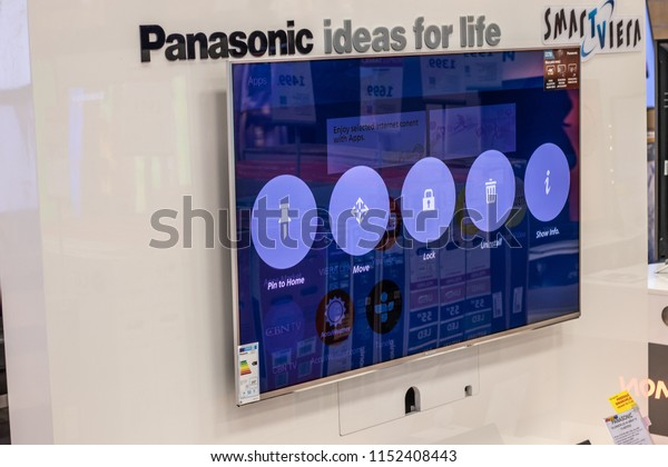 Lodz, Poland, July 9, 2018 inside RTV EURO AGD electronic store, Panasonic LED 4K HDR Smart TV TX-58EX703E ultra HD on display for sale, UHD SmartViera TV produced by Panasonic