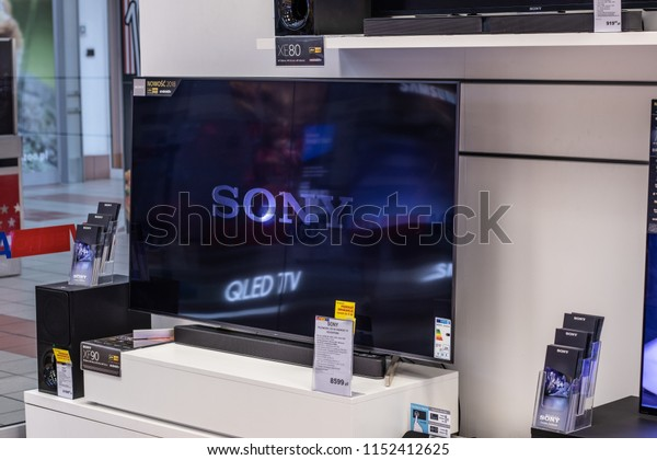 Lodz, Poland, July 9, 2018 inside RTV EURO AGD electronic store, Sony LED 4K HDR androidTV 65inch KD-65XF9005 ultra HD on display for sale, UHD Bravia TV produced by Sony