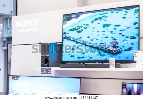 Lodz, Poland, July 9, 2018 inside RTV EURO AGD electronic store, Sony LED 4K HDR androidTV 55inch KD-55XE8599 ultra HD on display for sale, UHD Bravia TV produced by Sony