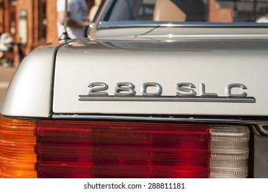 LODZ, POLAND - JUN 4, 2015: Mercedes model symbol and rear lamp