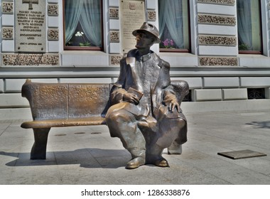LODZ, POLAND, JUNE 14, 2015 :Monument of famous poet Tuwim. Lodz