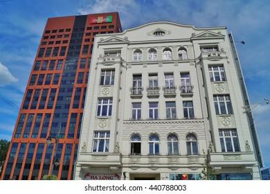 LODZ, POLAND, JUNE 19 2016 :Modern and historic architecture in Lodz  on Piotrkowska Street.