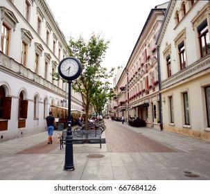 LODZ, POLAND - JUNE 21: Clock near Piotrkowska Street on June 21, 2017 in Lodz, Poland.