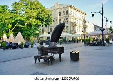 LODZ, POLAND - JUNE 22, 2016: Monument to Arthur Rubinstein (1887-1982), a Polish classical pianist in Lodz, Poland.