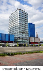 LODZ, POLAND, JUNE, 27 2018: Avenue of Marshal Józef Pilsudski in Lodz. Architecture in the center of lodz. Office and residential buildings. A new route connecting the two ends of the city of Lodz.