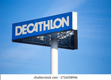 Lodz, Poland - March 08, 2020: Huge advertisement of decathlon store on the background of blue sky.