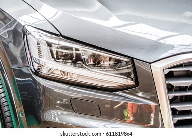 Lodz, Poland, March 25, 2017: Audi Q2 TFSI front LED Headlights
