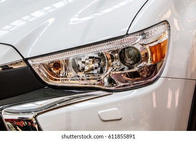 Lodz, Poland, March 25, 2017: Mitsubishi ASX front LED Headlights