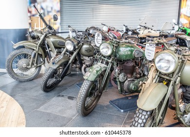 Lodz, Poland, March 26, 2017: old classic retro army motorcycle BSA, Royal Enfield