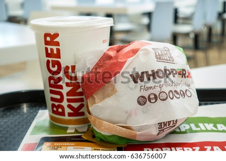 Lodz, Poland, March 28, 2017: Burger King Whopper with cup of Coca Cola