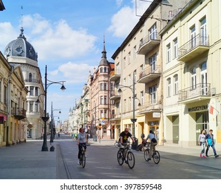 LODZ, POLAND - MAY 03, 2015: Piotrkowska Street in Lodz . Main shopping street. Sunday afternoon on Piotrkowska Street.