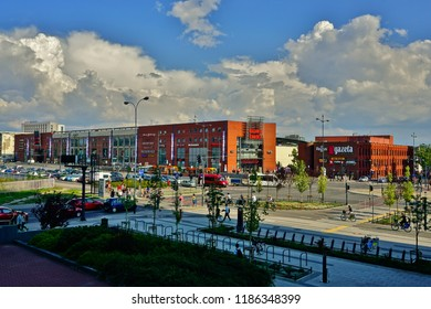 LODZ, POLAND, MAY, 30 2018: Avenue of Marshal Józef Pilsudski in Lodz. Architecture in the center of lodz. Hotels and office buildings and shopping center