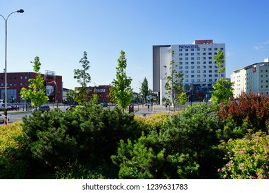 LODZ, POLAND, MAY, 30 2018: Avenue of Marshal Józef Pilsudski in Lodz. Architecture in the center of lodz. Hotels and office buildings