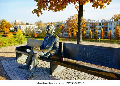 LODZ POLAND  November 02 2018: Park of the Survivors in Lodz, where there is a Memorial to Poles Rescuing Jews during World War II and the Mound of Remembrance.   Monument-bench of Jan Karski.