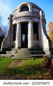 LODZ, POLAND, NOVEMBER 02 2018: Jewish Cemetery in Lodz  - Cemetery in Łódź founded in 1892. The largest Jewish necropolis in Poland in terms of area.Mausoleum of Izrael Poznański