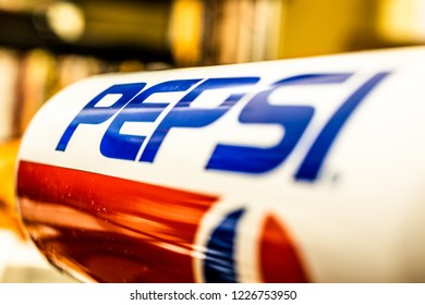 Lodz, Poland, November 10, 2018: Pepsi Cola can 1990s GENERATIONS Edition, Pepsi-Cola is produced by Pepsico, macro closeup