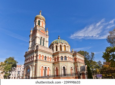 LODZ, POLAND - OCTOBER 19, 2014: Orthodox Alexander Nevsky Cathedral  (circa 1884) in Lodz, Poland. Architect Hilary Majewski