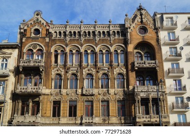 Lodz, Poland - old decorative apartment building. Architecture in Lodzkie province