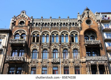 Lodz, Poland - old decorative apartment building. Architecture in Lodzkie province.