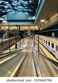 LODZ, POLAND - September 17, 2018 : The interior of the newly rebuilt Lodz Fabryczna railway station -it is the largest and most modern station in the city.