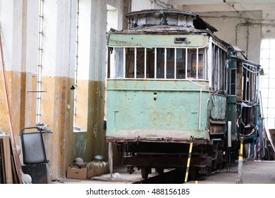 Lodz, Poland, September 18, 2016 front of old tram, BRUS museum