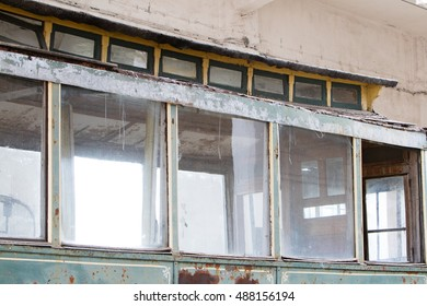 Lodz, Poland, September 18, 2016 windows in old tram, BRUS museum