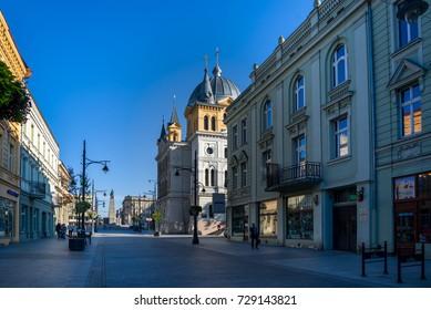 LODZ, POLAND, September 19, 2017: Piotrkowska Street on a sunny morning