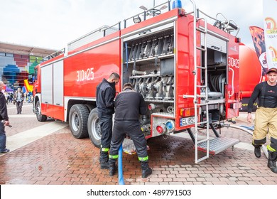 Lodz, Poland, September 24, 2016; Manufaktura, Firefighter Combat Challenge, inside fire brigade truck