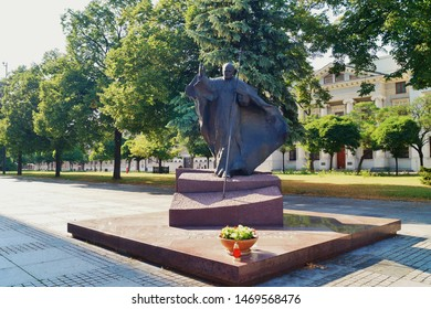 LODZ, POLAND,JULY 28 2019 : Monument to Pope John Paul II (circa 2000) near Cathedral of St Stanislaus Kostka in Lodz, Poland.