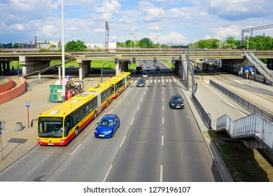 LODZ,POLAND, 28 APRIL 2018; Lodz, The the route to the city center. View from the viaduct