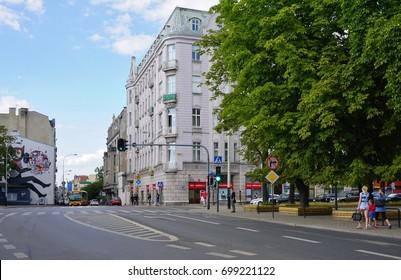 LODZ,POLAND, AUGUST  06, 2017; Center of lodz. Architecture of the city Lodz .Sienkiewicz street
