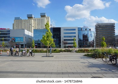 LODZ,POLAND, AUGUST ,07,2019; Center of Lodz. Architecture in the center of lodz. Offices, hotels, banks and shopping centers