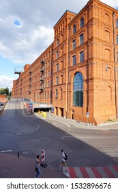 LODZ,POLAND JULY 02 2019: Andel'S Hotel in Lodz - Izrael Poznanski old factory - Inner square of Manufaktura, an arts centre, shopping mall, and leisure complex