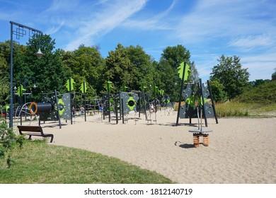 LODZ,POLAND JULY 2020; Leisure, Recreation and Animation Zone in the Zdrowie Park. Lodz, Poland.