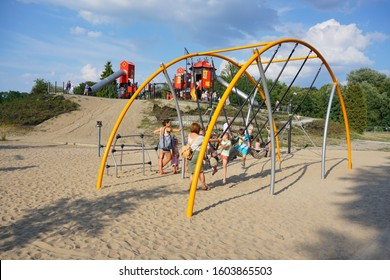 LODZ,POLAND JULY 20,2019; Leisure, Recreation and Animation Zone in the Zdrowie Park. Active outdoor fun for children