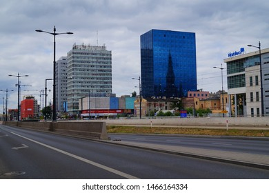 LODZ,POLAND, JUNE 17 2019; Center of Lodz. Architecture in the center of lodz. Offices, hotels, banks and shopping centers.Pedestrian crossing