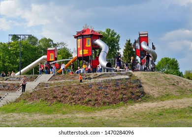 LODZ,POLAND JUNE 21,2019; Leisure, Recreation and Animation Zone in the Zdrowie Park. Lodz, Poland.