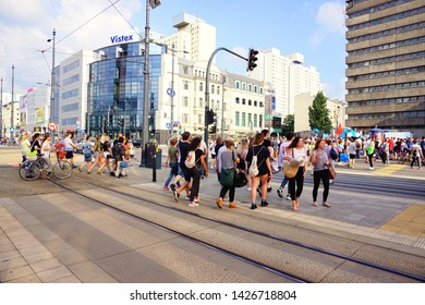 LODZ,POLAND, JUNE,09,2019; Center of Lodz. Architecture in the center of lodz. Offices, hotels, banks and shopping centers.Pedestrian crossing