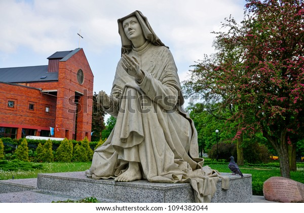 LODZ,POLAND, MAY 04 2018 : The statue of St.. Faustina