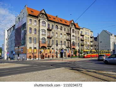 LODZ,POLAND, MAY  30, 2018; Center of lodz. Architecture of the city Lodz. T.Kosciuszko street