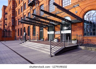 LODZ,POLAND , NOVEMBER 24 2017: Andel's Hotel in Lodz - Izrael Poznanski old factory - Inner square of Manufaktura, an arts centre, shopping mall, and leisure complex