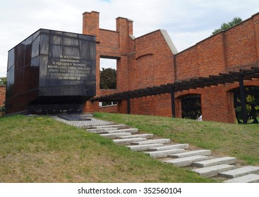 LODZ,POLAND SEPTEMBER 18 2015:Mausoleum and Museum in Lodz Radogoszcz. The memory of the German genocide in Polish in 1945. The textile factory burned 17/18 January 1945 about 1 500 prisoners