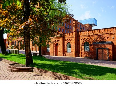 LODZ,POLAND,MAY,  04,2018 ; Inner square of Manufaktura, an arts centre, shopping mall, and leisure complex in Lodz, Poland.