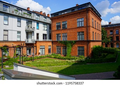 LODZ,POLAND,Tobaco Park ; AUGUST 17,2018; Tobaco Park - Architecture in Lodz. Housing estate. Mix of old and modern architecture