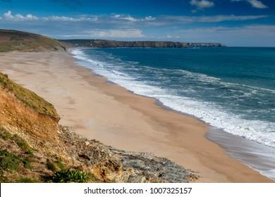 Loe Bar beach at Porthleven, Cornwall looking towards the Lizard on a beautiful April day